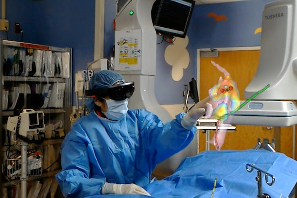 Jennifer Silva, MD, uses the holographic display during a cardiac ablation procedure. (Courtesy photo)