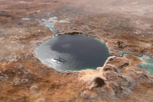 This illustration shows Jezero Crater — the landing site of the Mars 2020 Perseverance rover — as it may have looked billions of years ago on Mars, when it was a lake. At Washington University in St. Louis, Vijay Ramani's lab has developed a way to extract hydrogen and oxygen out of the briny water that may remain under the Martian surface. (Image: NASA/JPL-Caltech)