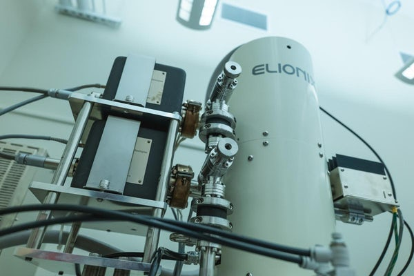 The electron gun shoots a beam of electrons into the sample. Very strong magnets inside the tube direct electrons into a focused beam. (Photo: Sean Garcia/Washington University)