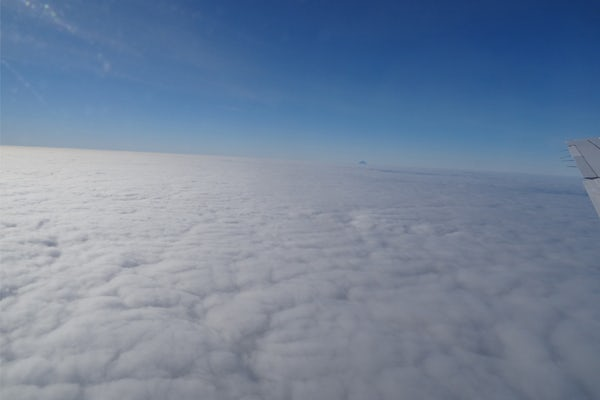 New results from an atmospheric study over the eastern North Atlantic reveal that tiny aerosol particles which seed clouds can form out of next-to-nothingness over the open ocean. This image was taken on the aircraft carrying 55 different atmospheric instrument systems which took measurements over the Azores and surrounding ocean. (Courtesy photo)