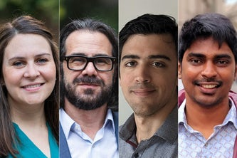 Clockwise from top left: Christine O'Brien, Ian Bogost, Eric Corbett, Aravind Nagulu, Yiannis Kantaros