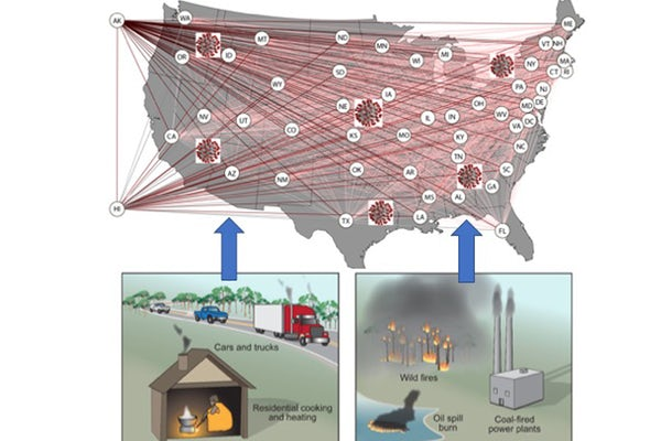 According to new research from the McKelvey School of Engineering at Washington University in St. Louis, pollution may bear part of the blame for the rapid proliferation in the United States of SARS-CoV-2, the virus responsible for the spread of COVID-19.(Courtesy image)