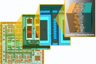 Micrograph of the quantum tunneling sensor chipset and the matched Fowler-Nordheim tunneling barriers. (Image: Chakrabartty Lab)
