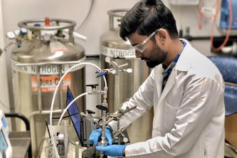 Washington University engineering graduate student David Dhanraj is part of a team of engineers testing how well different household and hospital-grade materials block tiny particles.