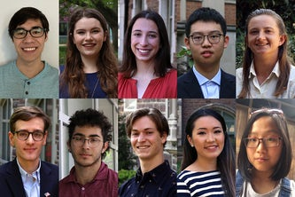 (From left, top row) Ian Hudson, Rachel Jakes, Camryn Kenkel, Shuhao Li, Ally Persky,     (From left, bottom row) Jonathan Richter, Robert Slutsky, Daniel Sosebee, Jessica Zhang, Ann Zhou