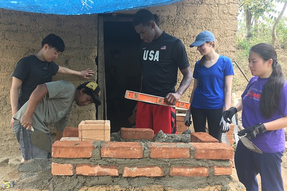 Senior biomedical engineering major Andrew Whitaker helped build a cookstove during a recent trip to Honduras. (Courtesy photo)