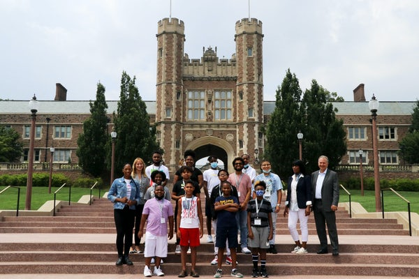 WashU and the BrightPath STEAM Academy hosted 15 students in-person and nearly 300 students virtually for the day-long event.