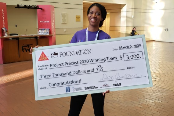 Courtney Prentiss, a master's student studying construction management and architecture, was a member of the winning team at the second annual Project Precast Design Competition. Submitted photo