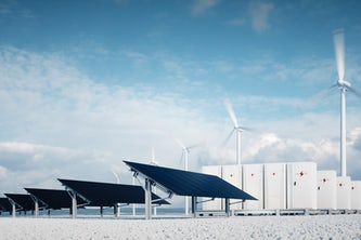 New research is primed to speed up the development of high-capacity energy storage, necessary for reliability in a grid powered by renewable energy. (Image: rendering, Shutterstock)